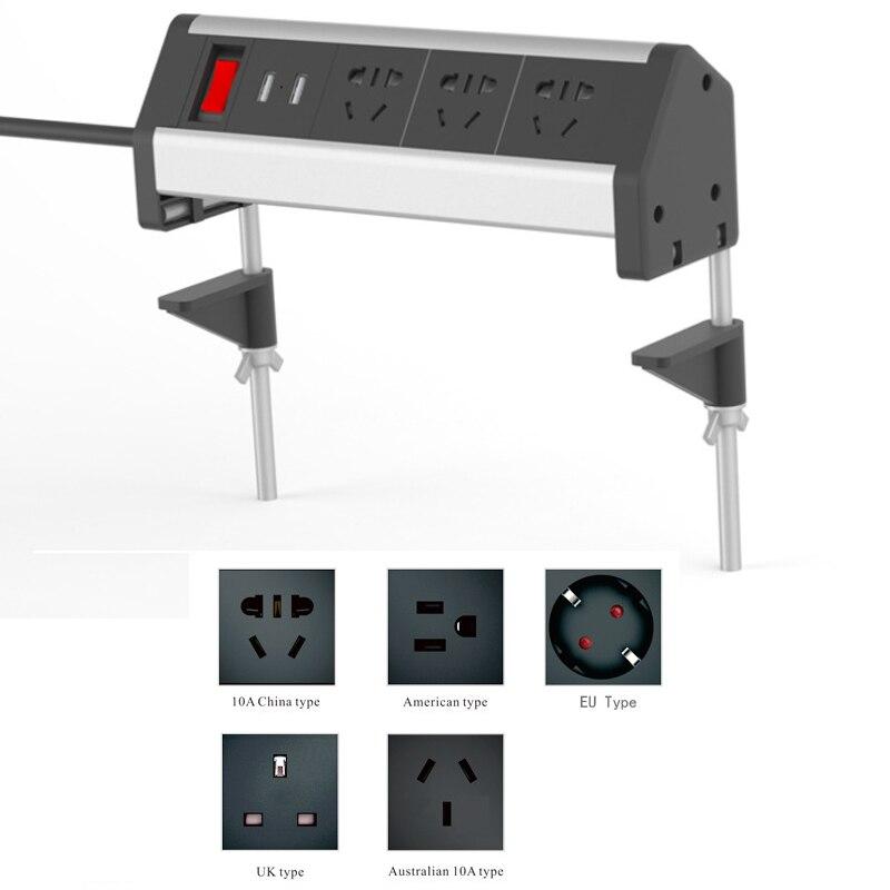 Table Clamp Metal Socket Office Desktop Countertop Meeting Room Outlet Standard Power Socket EU/UK/AU/US With 2 Usb Port &Switch